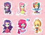 -- My Little Pony Gijinka Keychains -- by Kurama-chan