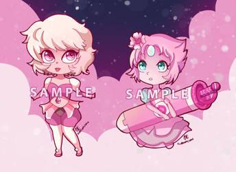 -- Chibi Pink Diamond + Pearl -- by Kurama-chan