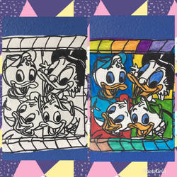 The DucktalesCartoonCharacterArtColorfulDrawBW by NWeezyBlueStars23