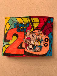 The Family Guy 20th Years ArtColorfulDesignDrawing by NWeezyBlueStars23