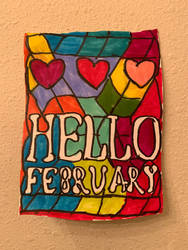 Hello February Logo Art Colorful Design Drawing  by NWeezyBlueStars23