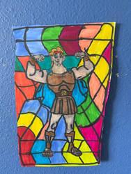 Hercules Hero Art Colorful Design Drawing  by NWeezyBlueStars23