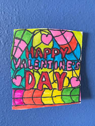 Happy Valentines Days Heart Art ColorfulDesignDraw by NWeezyBlueStars23