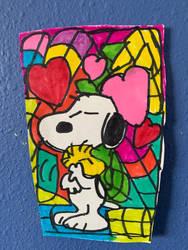 SnoopyWoodstockValentinesHeartArtColorfulDrawing by NWeezyBlueStars23
