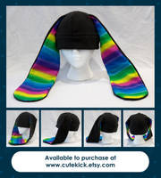Rainbow Striped Bunny Hat Limited Edition by cutekick