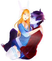 Adventure Time: Marshall Lee and Fionna by musicalscribble