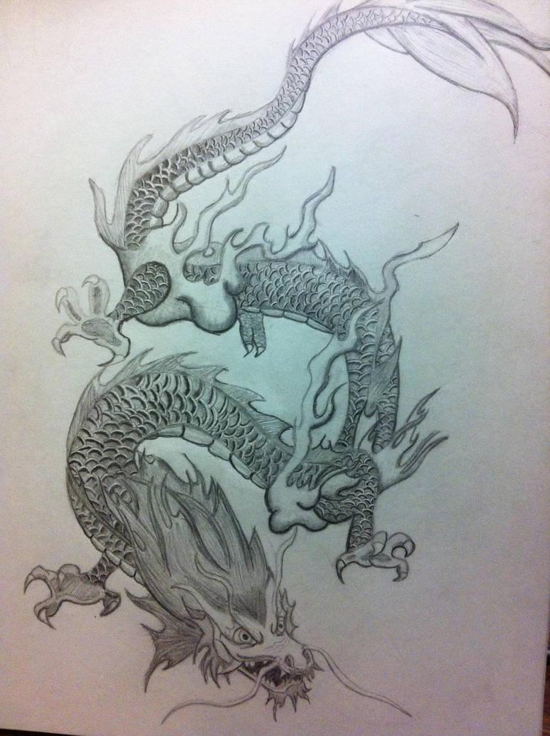 Chinese dragon pencil drawing by xarbak