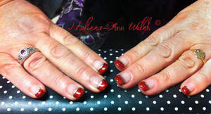 Red Glitter tips. by hugmemel