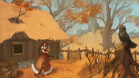 For fun: A hut in the autumn woods by MagicalKaleidoscope