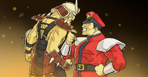Shao Kahn vs. M. Bison by TOKYO51zombie
