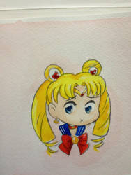 Shoujo Style Mini Sailor Moon Watercolor by Nattosoup