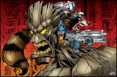 GROOT and ROCKET by graphicoz