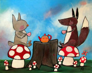 Fox and Owl Have Tea by andralynn
