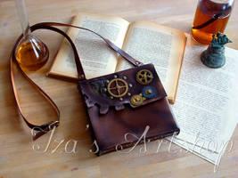 Steampunk leather pouch by izasartshop