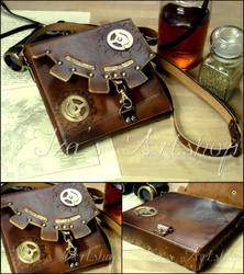 Steampunk Leather Pouch V by izasartshop