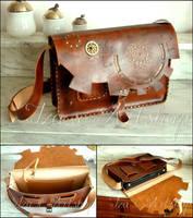 Steampunk Leather Laptop Bag by izasartshop