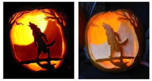 Howling Werewolf Pumpkin by Armuri