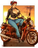 Maggie biker by RamArtwork
