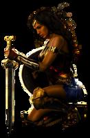 Wonder Woman: Kneeling - Transparent Background! by Camo-Flauge