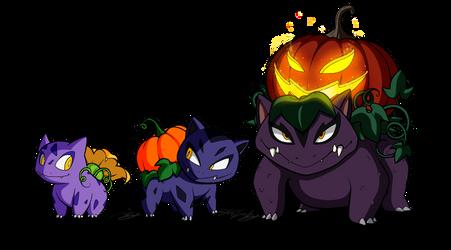 Fan Pokemon - The Pumpkin 'Saurs by MolochTDL