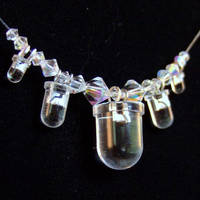 Elegant Crystal and Upcycled Clear LED Necklace by Techcycle