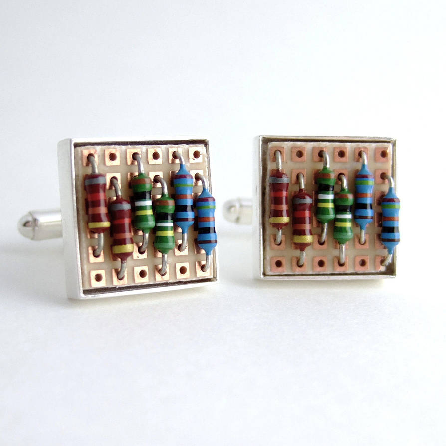 Prototyping Circuit Board And Resistor Cufflinks By Techcycle On