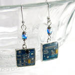 Domed Blue Circuit Board and Crystal Earrings by Techcycle