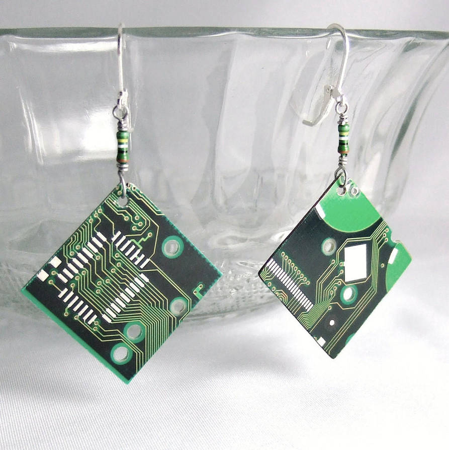 Circuit Board Green Diamond Earrings By Techcycle On Deviantart Copper Cuff Bracelet