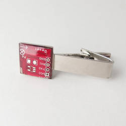 Circuit Board Domed Red Tie Clip by Techcycle