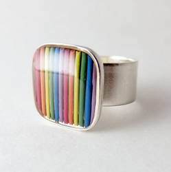 Domed Computer Cable Rainbow Ring by Techcycle