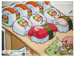 Kawaii Sushi Nigiri V Sticker by KawaiiUniverse