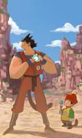Goku and Gohan by mendigo-amigo