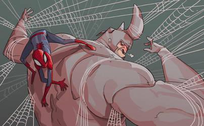 spider-man and rhino by mendigo-amigo