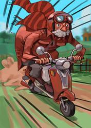 Red Grampa on a scooter by mendigo-amigo