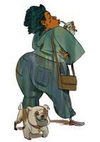 black woman and bulldog by mendigo-amigo