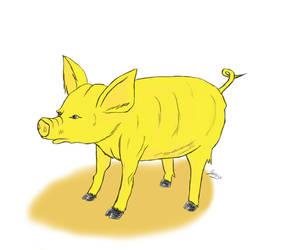 Golden pig by Sorrowen