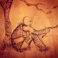 Alone - Pyrography tmnt by BlossomBrooks