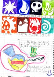 Flameslinger and the Skylander symbols by badberry123