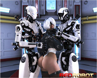 2B and Friends by Redrobot3D