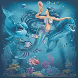 Mermaid and Dolphins by GruberJan