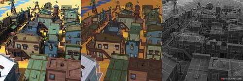3d Pixel Western Town Set 01 (256x256 texture) by tsabszy