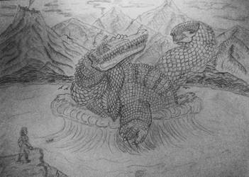 Primordial Dragon and Antediluvian Basilisk by ImperatorDavianus