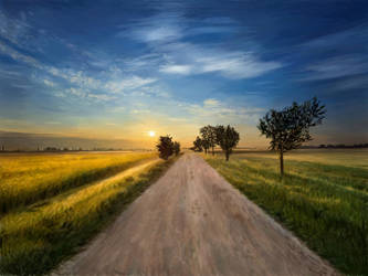 Painting - Sunset @ South Germany Rural Area by TheKissingHand