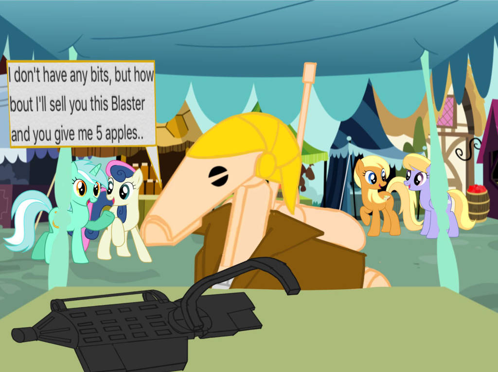 B1-224 trying to buy apples at ponyville by B1BattleDroid