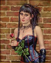 Gothic girl..oil on linen by xxaihxx