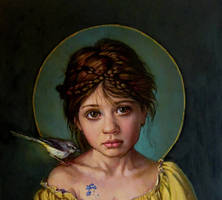 Forget me Not...close up..oil on linen by xxaihxx