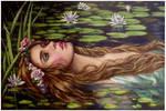 Ophelia..oil paint on linen canvas by xxaihxx