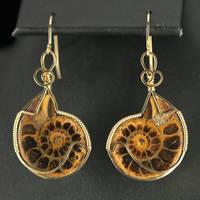 Ammonite Earrings in Gold by innerdiameter