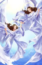 Twin Angels by Lunallidoodles