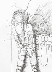 Pinned Down (ink drawing) by Rone187